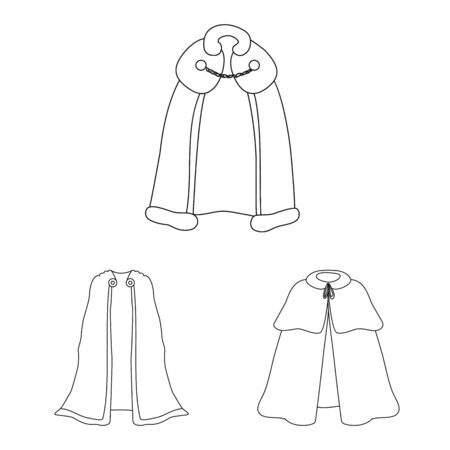 Isolated object of robe and garment logo. Set of robe and cloth stock vector illustration.