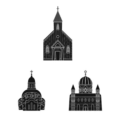 Vector illustration of house and parish logo. Set of house and building stock symbol for web. Ilustração