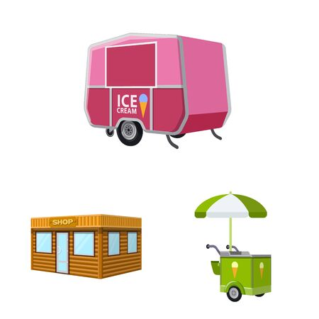 Isolated object of booth and kiosk icon. Set of booth and small stock symbol for web. Illustration