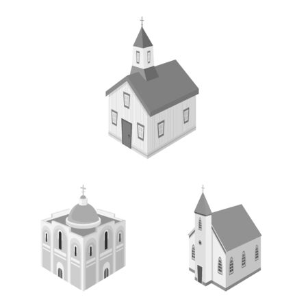 Vector illustration of landmark and clergy symbol. Collection of landmark and religion vector icon for stock.