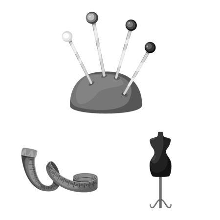 Vector illustration of dressmaking and textile logo. Set of dressmaking and handcraft stock symbol for web.