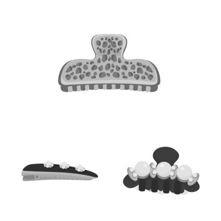 Isolated object of hairdressing and hairclip icon. Set of hairdressing and fashion vector icon for stock.