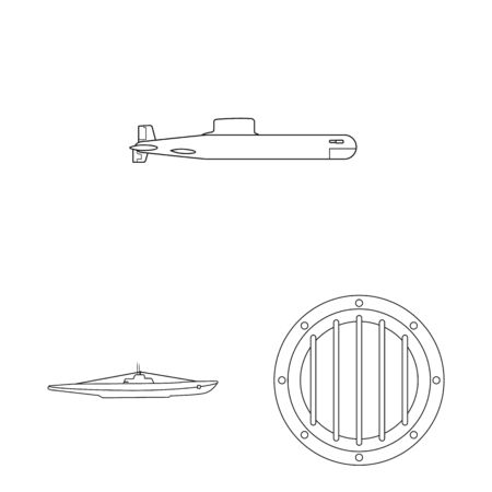 Isolated object of boat and navy symbol. Collection of boat and deep vector icon for stock.