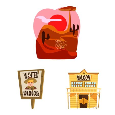 Vector illustration of wild and west icon. Set of wild and american stock symbol for web. Vectores