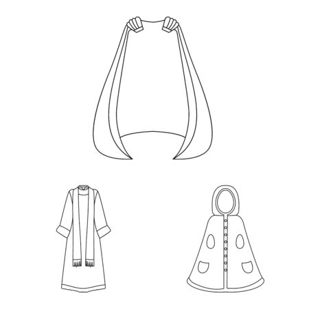 Isolated object of robe and garment icon. Collection of robe and cloth stock symbol for web.
