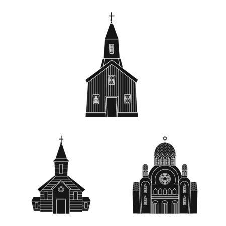 Isolated object of house and parish logo. Collection of house and building stock symbol for web.