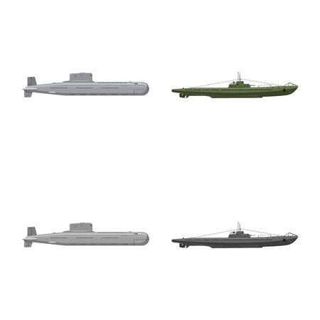 Vector illustration of war and ship sign. Collection of war and fleet stock vector illustration. Illusztráció