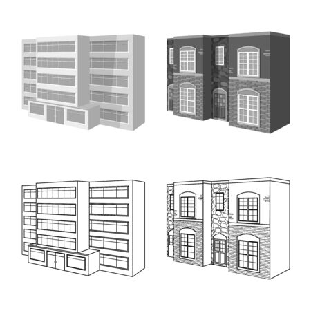 Isolated object of facade and housing icon. Collection of facade and infrastructure vector icon for stock.