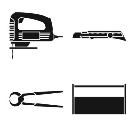 Vector illustration of handicraft and construction icon. Collection of handicraft and tool stock symbol for web.