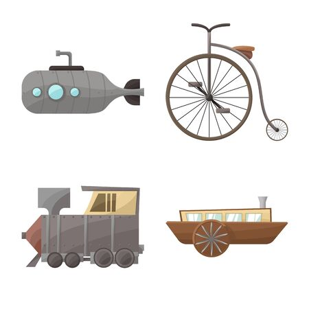 Vector illustration of retro and vintage icon. Collection of retro and transport stock vector illustration.