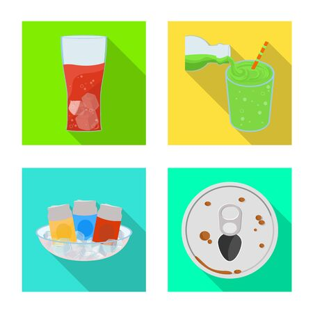 Isolated object of drink and beverage sign. Set of drink and liquid stock symbol for web.