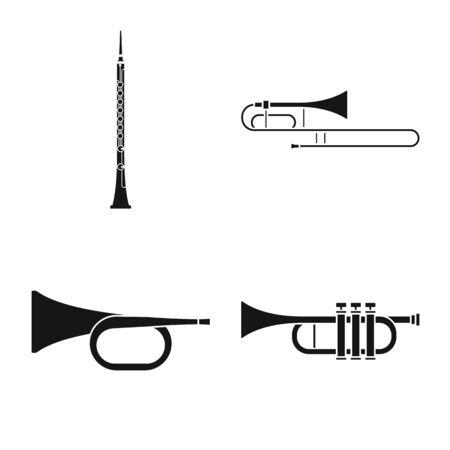 Vektordesign von Ausrüstung und akustischem Zeichen. Satz von Ausrüstung und Holzbläser-Aktiensymbol für das Web. Vektorgrafik