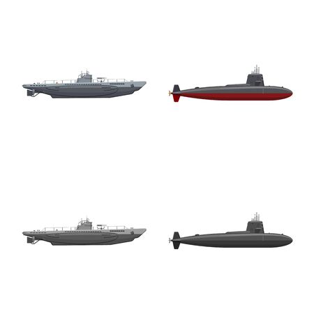Vector design of war and ship sign. Set of war and fleet vector icon for stock. Ilustração