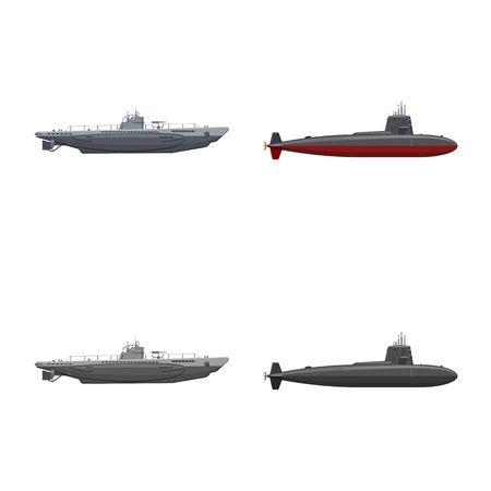 Vektordesign von Kriegs- und Schiffszeichen. Satz von Kriegs- und Flottenvektorsymbolen für Aktien.