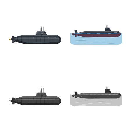 Vector design of war and ship symbol. Collection of war and fleet stock vector illustration. Illusztráció