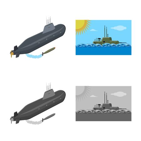 Isolated object of war and ship icon. Collection of war and fleet stock symbol for web.