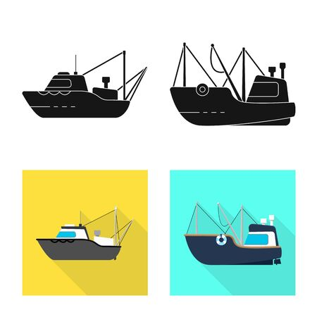 Vector illustration of transport and industrial icon. Collection of transport and yacht stock symbol for web. 写真素材 - 132698767