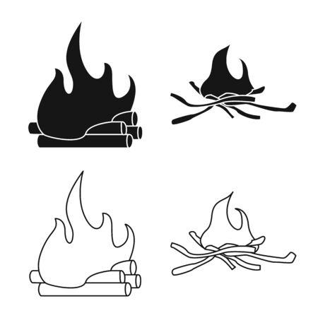 Vector illustration of danger and tourism sign. Collection of danger and hiking stock symbol for web. Ilustração