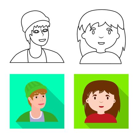 Vector illustration of avatar and person symbol. Collection of avatar and profession stock symbol for web.