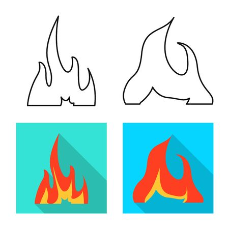 Vector design of bright and dangerous symbol. Collection of bright and wildfire stock vector illustration.