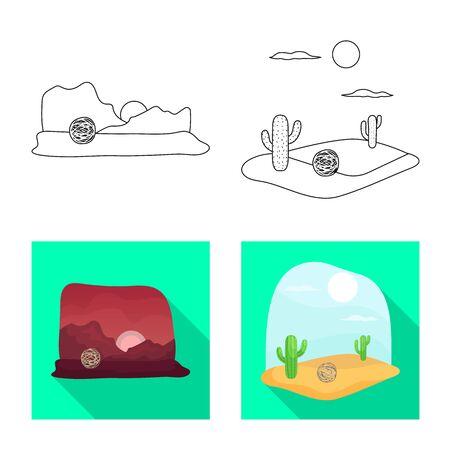 Isolated object of landscape and nature symbol. Set of landscape and environment stock vector illustration.
