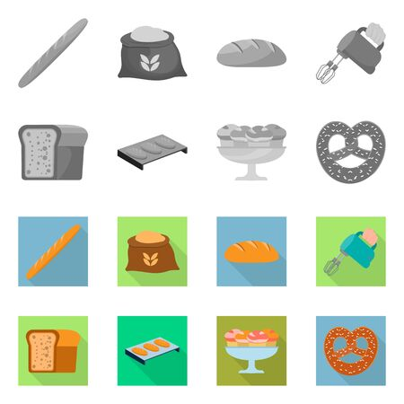 Vector illustration of bakery and natural symbol. Collection of bakery and business stock symbol for web.