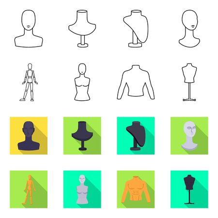 Vector illustration of mannequin and fashion sign. Set of mannequin and atelier vector icon for stock.