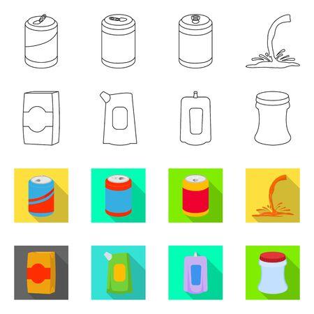 Vector illustration of drink and beverage logo. Set of drink and liquid vector icon for stock. Ilustração