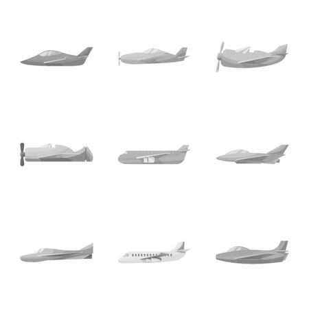 Isolated object of aviation and airline logo. Set of aviation and airways stock vector illustration.