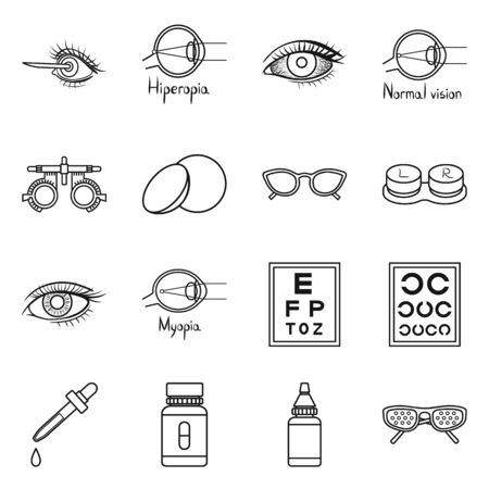Vektordesign des Korrektur- und Optometriezeichens. Sammlung von Korrektur- und Vision-Aktiensymbolen für das Web. Vektorgrafik
