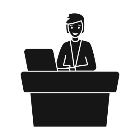 Vector illustration of presenter and show logo. Graphic of presenter and man vector icon for stock.