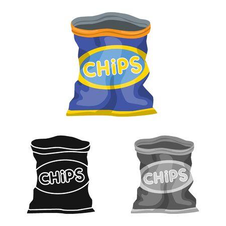 Vektor-Illustration von Paket- und Chip-Symbol. Grafik des Pakets und des knusprigen Vektorsymbols für Lager.