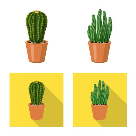 Isolated object of cactus and pot logo. Set of cactus and cacti stock vector illustration.