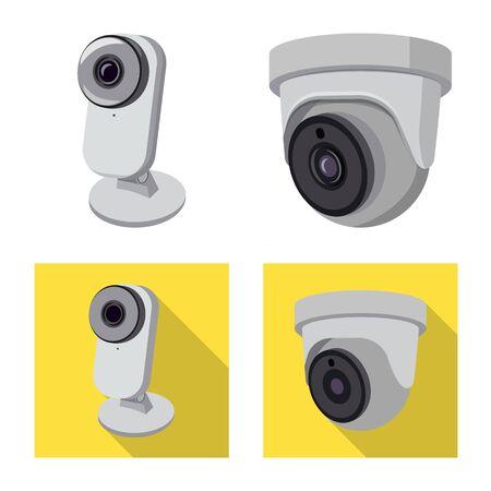 Illustrazione vettoriale di cctv e segno della fotocamera. Raccolta di cctv e icona di vettore di sistema per stock.
