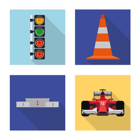 Vector illustration of car and rally symbol. Set of car and race vector icon for stock.