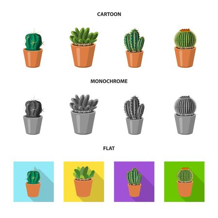 Isolated object of cactus and pot icon. Collection of cactus and cacti stock vector illustration. Иллюстрация