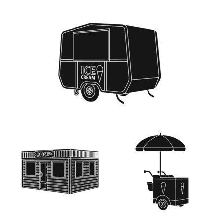 Vector design of container and outdoor icon. Collection of container and kiosk stock symbol for web.