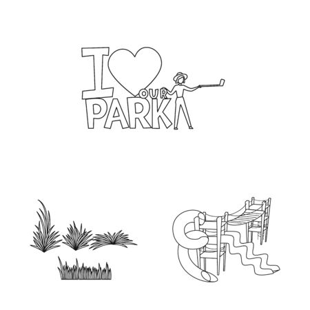 Vector design of landscape and nature sign. Set of landscape and city vector icon for stock.