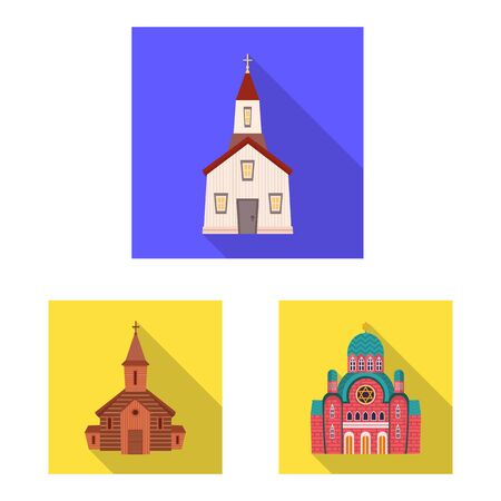 Isolated object of cult and temple symbol. Collection of cult and parish vector icon for stock.