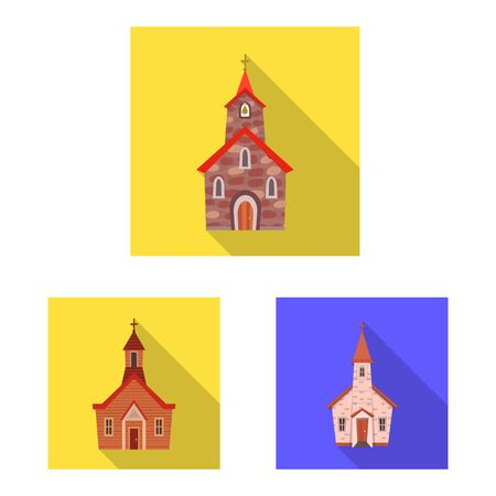 Vector illustration of cult and temple sign. Collection of cult and parish stock symbol for web. Ilustração