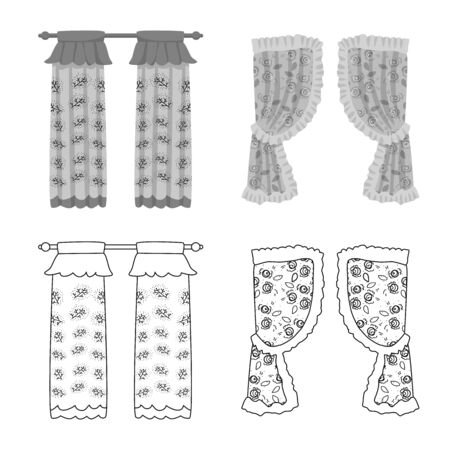 Vector design of curtains and drapes symbol. Collection of curtains and blinds vector icon for stock.