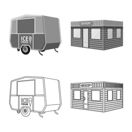 Vector design of marketing and tent symbol. Set of marketing and outdoor stock vector illustration.