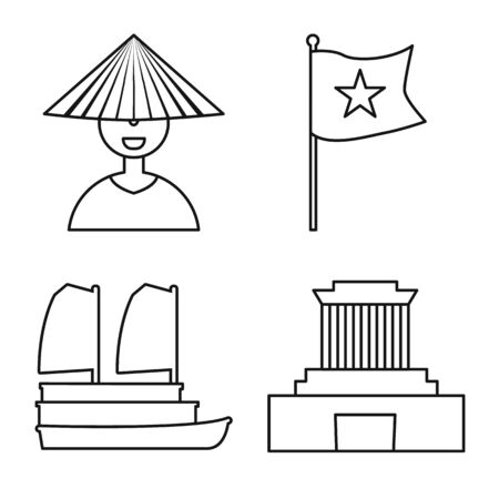 Vector design of vietnam and traditional sign. Set of vietnam and culture stock vector illustration.  イラスト・ベクター素材