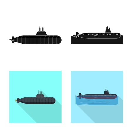 Vector design of war and ship sign. Collection of war and fleet stock symbol for web. Stock Illustratie
