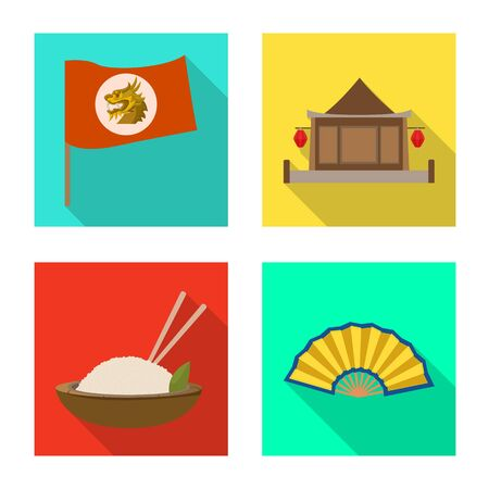 Isolated object of travel and country logo. Set of travel and asia stock symbol for web. Banque d'images - 132793719