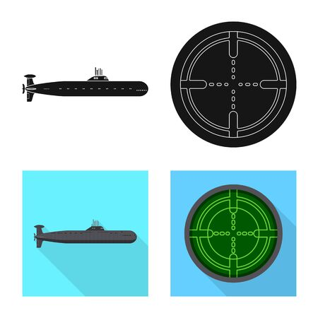 Isolated object of war and ship icon. Set of war and fleet stock symbol for web. Illusztráció