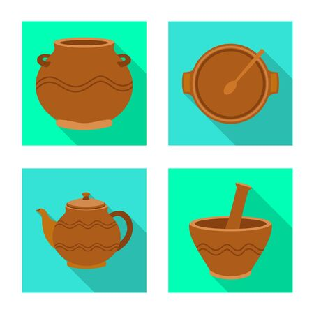 Vector design of pottery and ware icon. Collection of pottery and clayware stock symbol for web.