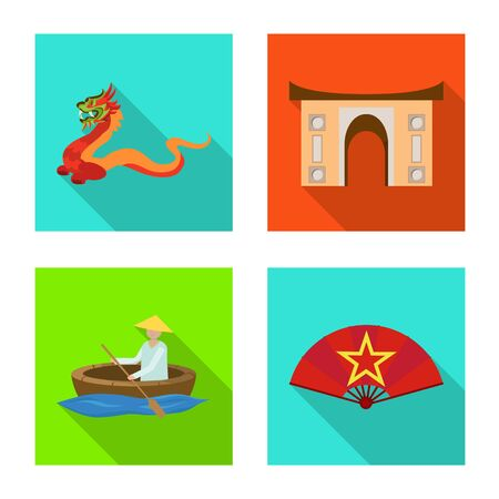 Vector illustration of travel and country symbol. Set of travel and landmark vector icon for stock. Banque d'images - 132793766