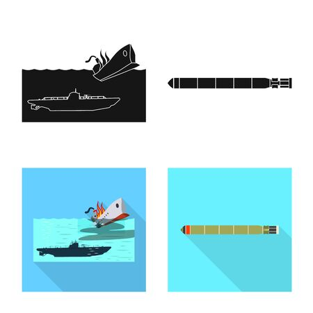 Vector design of war and ship icon. Collection of war and fleet vector icon for stock.