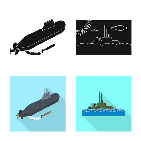 Isolated object of war and ship symbol. Set of war and fleet stock vector illustration.